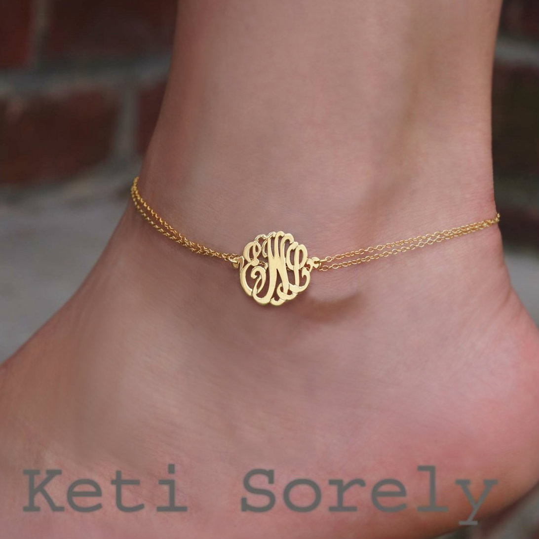 Personalized Monogram Anklet With Your Personal Initials In Sterling
