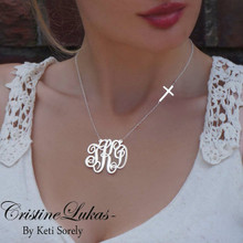 Swirly Script Monogram Necklace with Celebrity Sideways Cross - Sterling Silver or Solid  Karat Gold