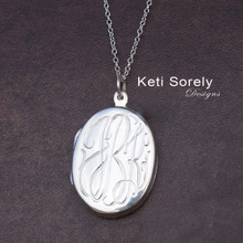 Monogram Locket with Hand Engraved Initials - Sterling Silver, Yellow Gold or Rose Gold