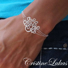Handmade Monogram Initials Bracelet or Anklet with Triple Chain - Choose Your Metal