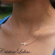 Celebrity style Sideways Cross Necklace - Silver or 10K, 14K, 18K Solid Gold