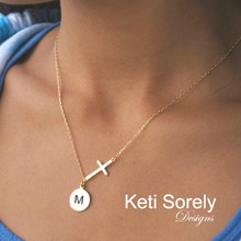 Celebrity style Sideways Cross Necklace With Initials Disk - Yellow, White or Rose Gold