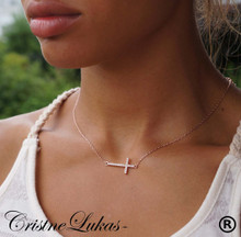 Celebrity style Sideways Cross Necklace with CZ-s - Rose Gold