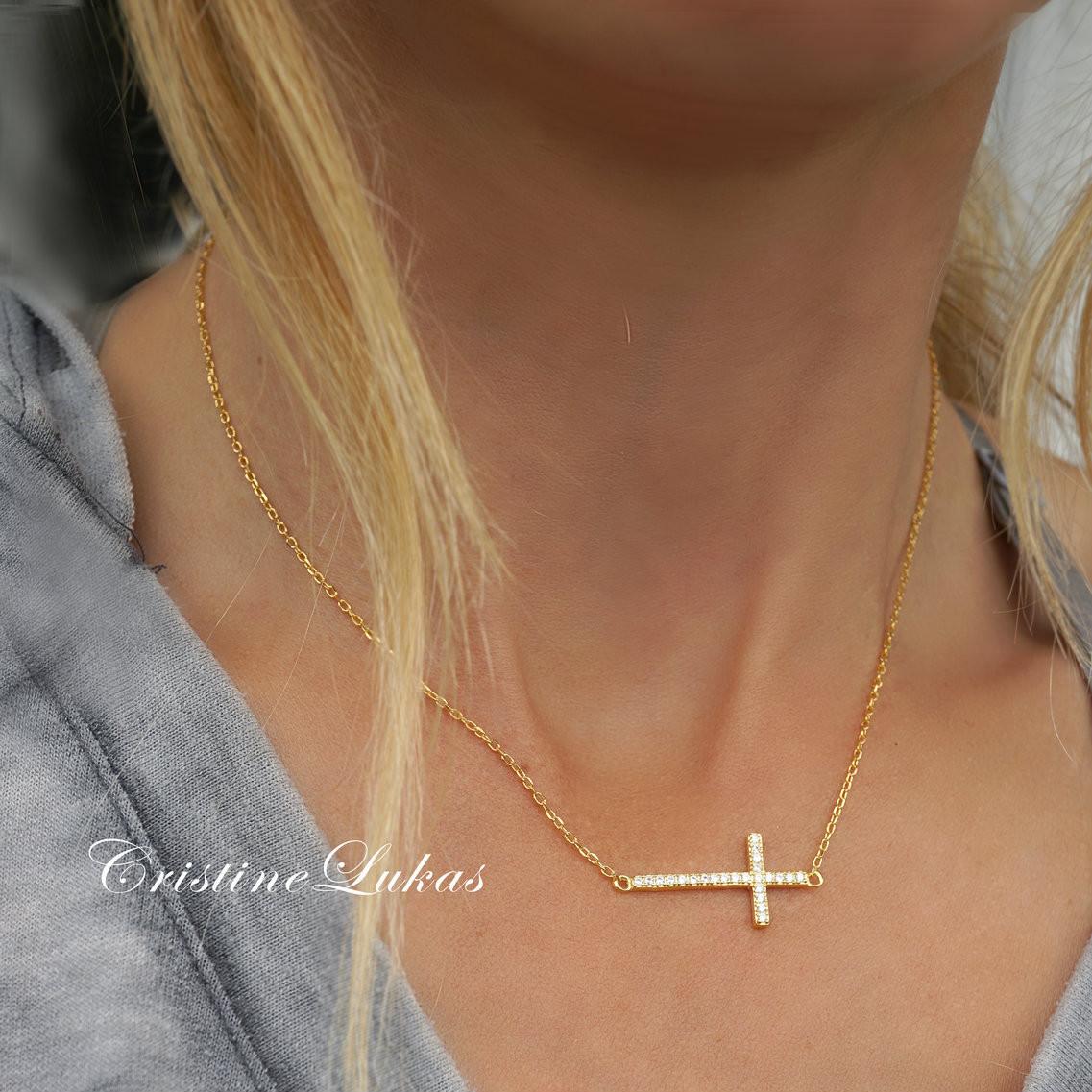 Celebrity Style Horizontal Sideway Cross Gold Silver Pendant Necklace Jewelry NJ