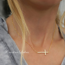 30% OFF - Celebrity style Sideways Cross Necklace with CZ Stones