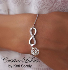 Infinity Bracelet with monogrammed Initials Charm -Silver
