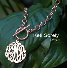 Monogrammed Charm Necklace with Large Link Chain -Sterling Silver