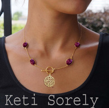 Gemstone Necklace with Monogrammed Initials Charm