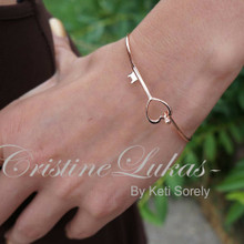 Heart & Key Stacking Bangle In Solid Gold