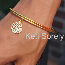 Stacking Bangle Set with Handcrafted Monogrammed Initials Charm - Choose Metal