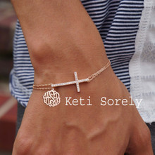 Sideways Cross Bracelet or Anklet with Monogrammed Initials Charm - Choose Your Metal