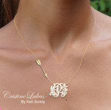 Monogram Necklace with Sideways  Arrow Charm - Sterling Silver or Solid Gold