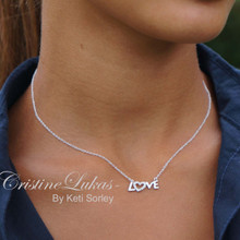 "Small ""Love"" Necklace with Clear CZ-s - Silver"