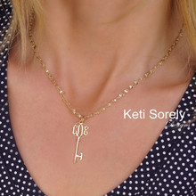 Small Monogrammed Initials Key Necklace With Singapore Chain - Choose Metal