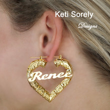 Celebrity Style Large Bamboo Earrings with Heart Shape - Name Earrings