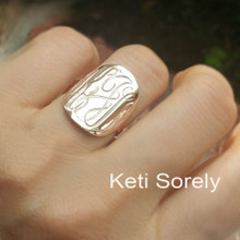 Monogram Disc Ring With Engraved Initials in Sterling Silver or Solid Gold