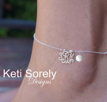 Personalized Monogram Charm Anklet with Pearl - White