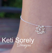 Personalized Monogram Charm Anklet - Choose Metal