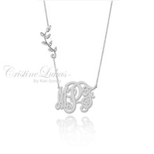 Monogram Necklace with Olive Leaf Vine - White