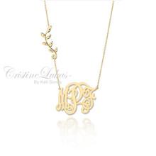 Swirly Monogram Necklace with Olive Leaf Vine - Choose Metal
