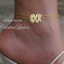 Double Chain Anklet Bracelet with Monogrammed Initials - Yellow Gold