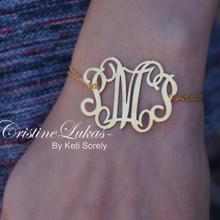 Handmade Large Initials Bracelet - Yellow Gold
