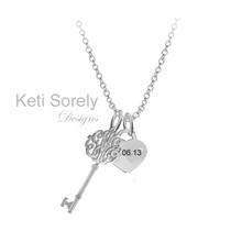 Monogrammed Initials Key Pendant with Heart Charm  - White