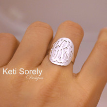 3D Oval Ring With Monogram Initials - Sterling Silver or White Gold