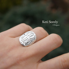Oval 3D Ring With Monogram Initials - Choose Metal