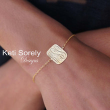 Hand Engraved Rectangle Charm Bracelet with Monogram Initials  - Yellow Gold