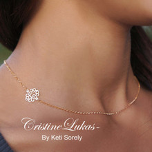 Sideways Monogram Necklace With Rolo Chain - Silver, Yellow or Rose Gold