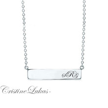 Celebrity Style Bar Necklace with Engraved Initials - White