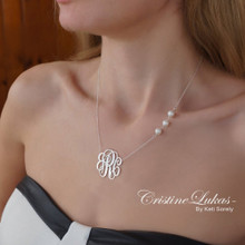 Handmade Monogram Initials Necklace with Freshwater Pearls on Side - Choose Your Metal