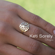 Small Personalized Hand Made Monogram Initials Ring in Sterling Silver, Yellow, Rose or White Gold