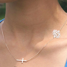 Sideways Monogram Necklace with Cross - Choose Your Metal