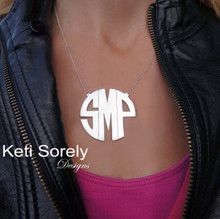 Large Modern Letters Block Monogram Necklace -White