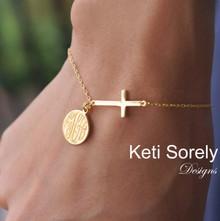 Sideways Cross Bracelet with Monogrammed Engraved Disc - Choose Your Metal