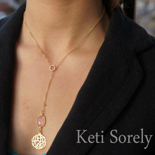 Gemstone Necklace with  Dangle Initials Charm - 14K Vermeil