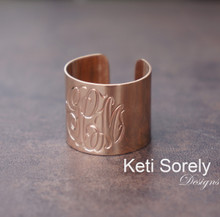 Hand Engraved Monogram Initials Cuff Ring - Choose Your Metal