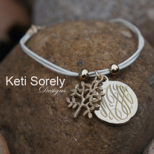 30% OFF - Engraved Initials Bracelet With Tree of Life Charm - Gold Finish