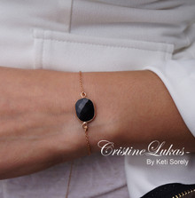 Onyx Stone Bracelet in Basel Frame - Rose Gold Over Sterling Silver