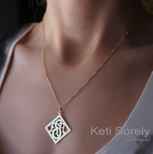 Diamond Shape Monogram Necklace With Initial - Yellow Gold