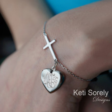 Sideways Cross Bracelet With Hand Engraved Heart Locket- Sterling Silver