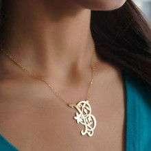 Handmade Initial Necklace With Floral design - Choose Metal