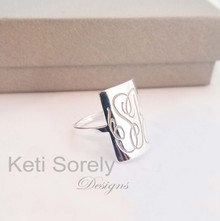 Rectangle Signet Ring With Monogrammed Initials - Yellow, Rose or White Gold
