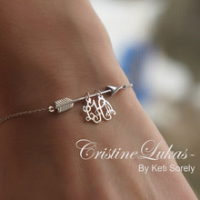 Sideways Arrow Bracelet With Monogram Charm  - Choose  Metal