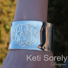 Hand Engraved Large Cuff Bangle - Sterling Silver, Yellow Gold or Rose Gold