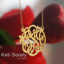 Floral Initial Necklace With Flower - Yellow Gold