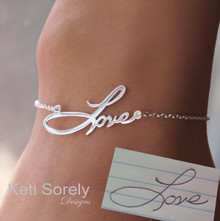 Memorial Bracelet - Personalized Bracelet with Handwritten Name or Word - Sterling Silver, Yellow, Rose ot White Gold