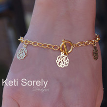 Family Initials Bracelet with Monogrammed Charms - Yellow Gold